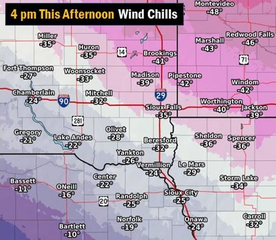 Dangerously cold wind chills anticipated at 4 p.m. Tuesday, Jan. 29, 2019.