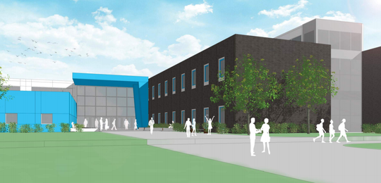 A rendering shows the design of the new Thomas Jefferson High School in Sioux Falls.