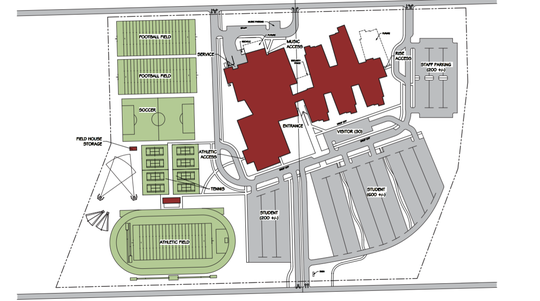 A site plan shows the layout of the new high school campus in northwest Sioux Falls.