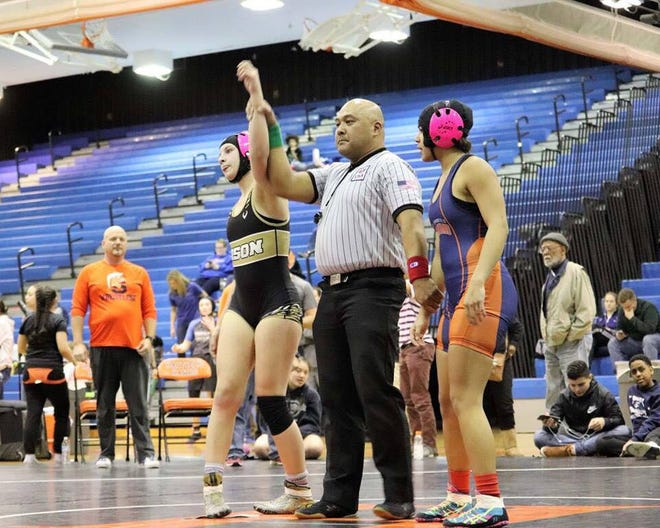 Brianna Reep, 15, a freshman at Buffalo Gap, was seeded fourth in the 127-pound class at the Virginia Girls Championship Tournament wrestling meet this past weekend, but upset two higher seeds to win the title.