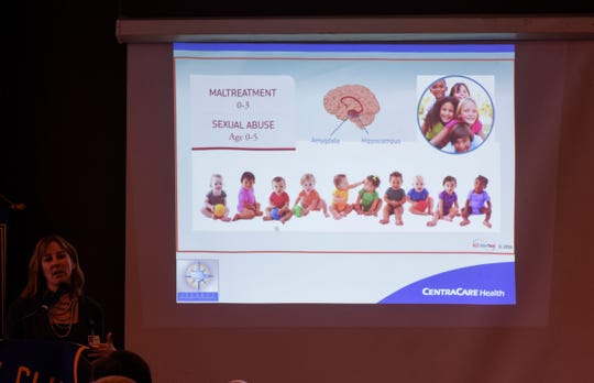 A slide highlights adverse childhood experience effects during a presentation Tuesday, Jan. 29, in St. Cloud.