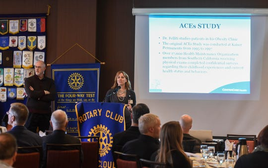 Dr. Geri Jacobson speaks during a presentation on facts about adverse childhood experiences Tuesday, Jan. 29, in St. Cloud.