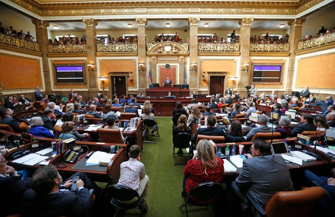 The floor of the Utah House of Representatives is shown during the first day of the Utah legislative session Monday, Jan. 28, 2019, in Salt Lake City. (AP Photo/Rick Bowmer)