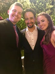 "From left, Alex Larson, Lin-Manuel Miranda, and Emily Tate attend an opening-night party for ""Hamilton"" in Puerto Rico."