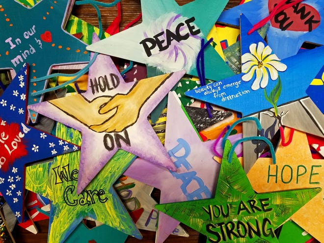 Examples of Stars of Hope that will be placed throughout Bay County, Florida