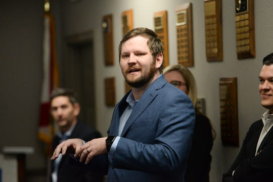 City Commissioner Jeremy Matlow speaks during a meeting at the Tallahassee Board of Realtors office to discuss the building of a parking structure in Midtown Monday, Jan. 28, 2019. At the end of the meeting, Matlow said he was not ready to support the building of a parking garage in Midtown.