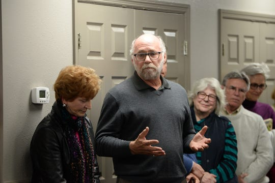 Former City Commisisoner Gil Ziffer adds his two cents after listening to citizens speak out against the proposed parking structure during a meeting at the Tallahassee Board of Realtors office to discuss the building of a parking structure in Midtown Monday, Jan. 28, 2019.