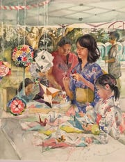 """""""Origami Table"""" is part of an exhibition of watercolors at Yoshiko's Art House."""