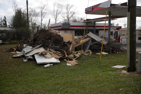 Parts of a Citgo gas station in Blountstown sit in ruins after Hurricane Michael hit the community hard in October.