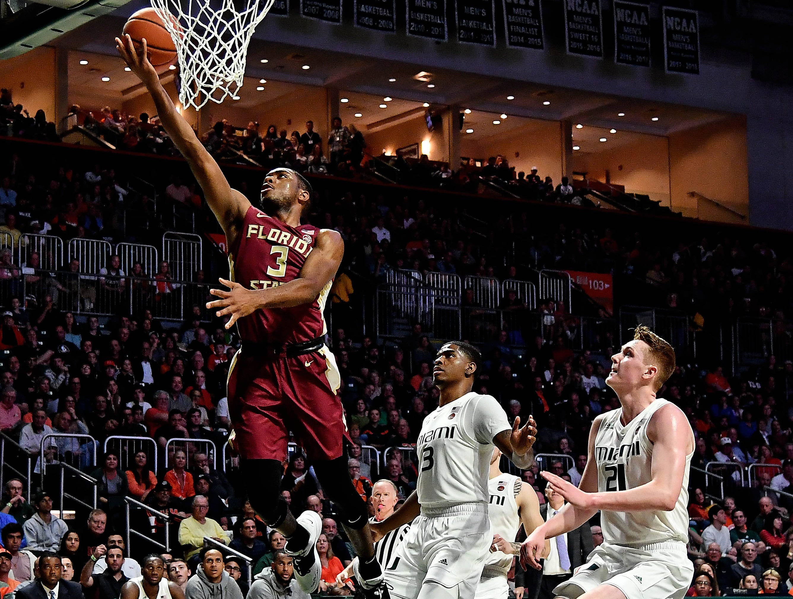 Jan 27, 2019; Coral Gables, FL, USA; Florida State Seminoles guard Trent Forrest (3) shoots the ball against the Miami Hurricanes during the first half at Watsco Center. Mandatory Credit: Jasen Vinlove-USA TODAY Sports