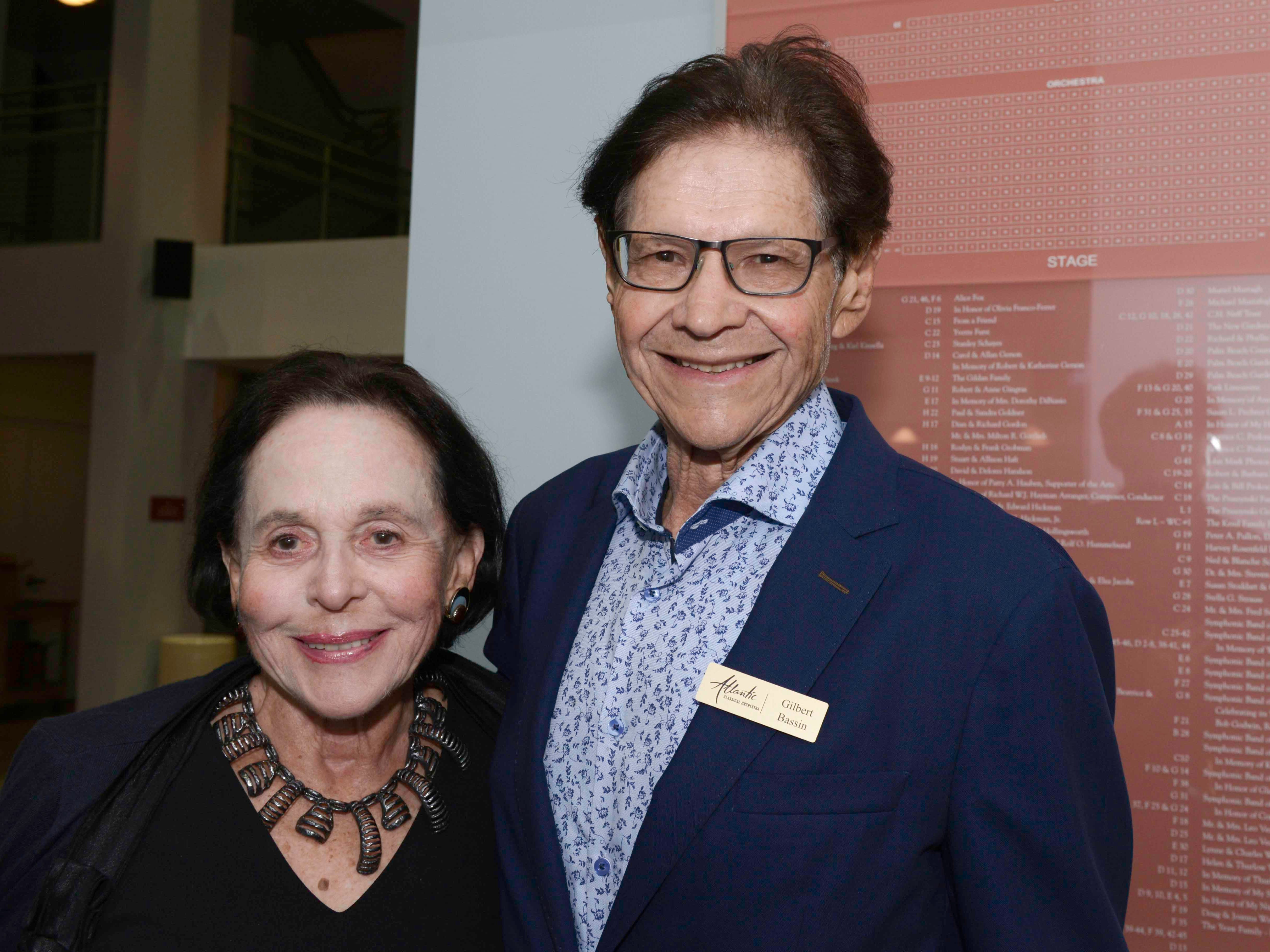 "Doreen and Gilbert Bassin, board member, at Atlantic Classical Orchestra's Masterworks I program, ""Romance & Revolution,"" at Eissey Campus Theatre at Palm Beach State College."