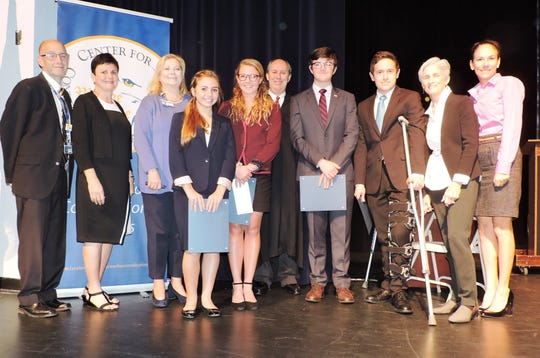 Martin County High School: Al Fabrizio, principal; Victoria Defenthaler, School Board member; Laurie Gaylord, superintendent; contestants Jordan Losardo and Jillian Plymale; Judge Mark Klingensmith; contestants Sam Cromie and Nick Ciampi; Kate Boland, president of Center for Constitutional Values and Charlene Lyons, senior vice president/COO of YMCA of the Treasure Coast.