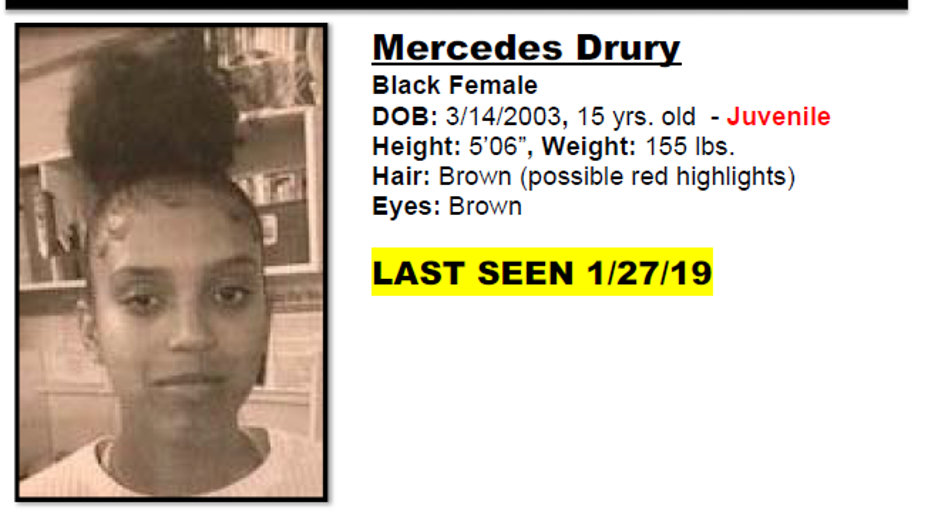 Port St  Lucie teen Mercedes Drury reported missing