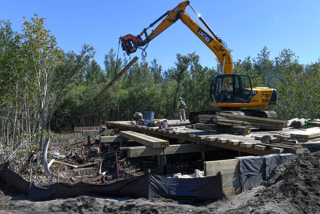 Construction crewmen from York Bridge Concepts work on a 267-foot timber vehicular bridge on Tuesday, Jan 29, 2019, along A1A on South Hutchinson Island, south of Fort Pierce in St. Lucie County. The bridge crosses over a section of mangroves and non-native Australian pine trees, linking A1A to proposed Sunset Beach, a housing development to be built along the ocean shoreline at Joe's Pond, about four miles north of the St. Lucie Nuclear Plant. The developer has been trimming, or cutting down mangrove trees as part of a DEP permit for the project.