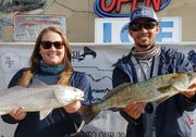 Chelsea Hampson and Andy Fantini won the January Backcountry Fishing Association tournament with a nice redfish and trout.
