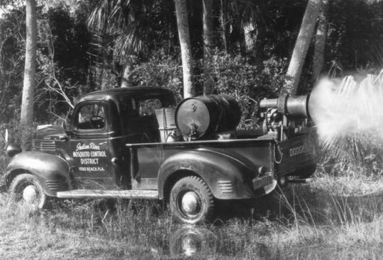 In the 1950s and 60s, fogging trucks traveled around the county spraying for mosquitoes. The old trucks traveled very slowly, emitting a fog with an unpleasant odor. Since the trucks could only travel at 5 mph, it took days to spray just a portion of Indian River County.