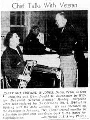 First Sgt. Edward W. Jones, of Dallas, Texas, is seen chatting with Gen. Dwight D. Eisenhower in William Beaumont General Hospital on Monday, Feb. 25, 1946. Jones was captured by the Germans on Oct. 6, 1944, while fighting with the 45th Division. He was liberated by the Russians in January 1945, spent several months in a Russian hospital and was flown back to the states for hospitalization.