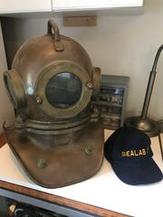 An old diving helmet used by U.S. Navy veteran and former aquanaut Bob Bornholdt when he first trained to become a diver.