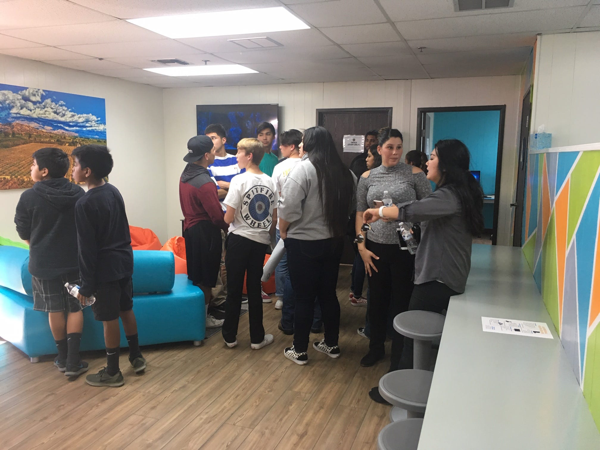 Youths tour the new teen center in Santa Paula during its grand opening Jan. 25. The center opened this week.