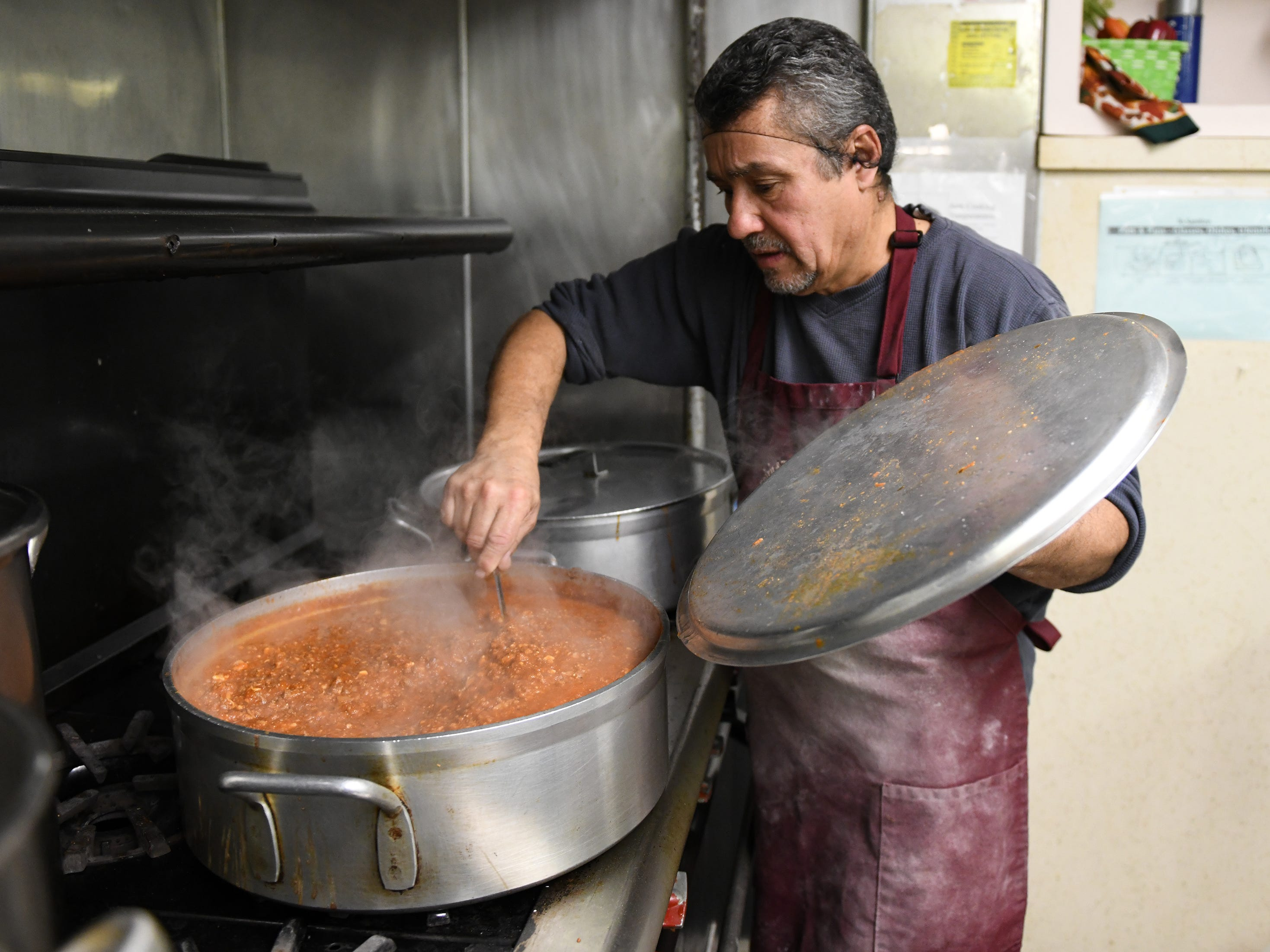 First United Methodist Church soup kitchen volunteer, Tony Centeno, 60 of Vineland, stirs a pot of chili on Tuesday, Jan. 29, 2019.