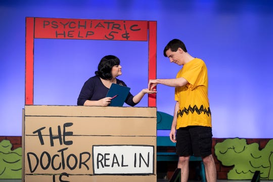 Lauren Fonseca, left, and Michael Newman rehearse for Encore Theater's production of You're a Good Man Charlie Brown on Monday, January 28, 2019.