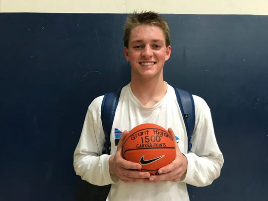 Central Valley Christian's Grant Highstreet scored his 1,500 career point on Monday in a win over Hanford West.