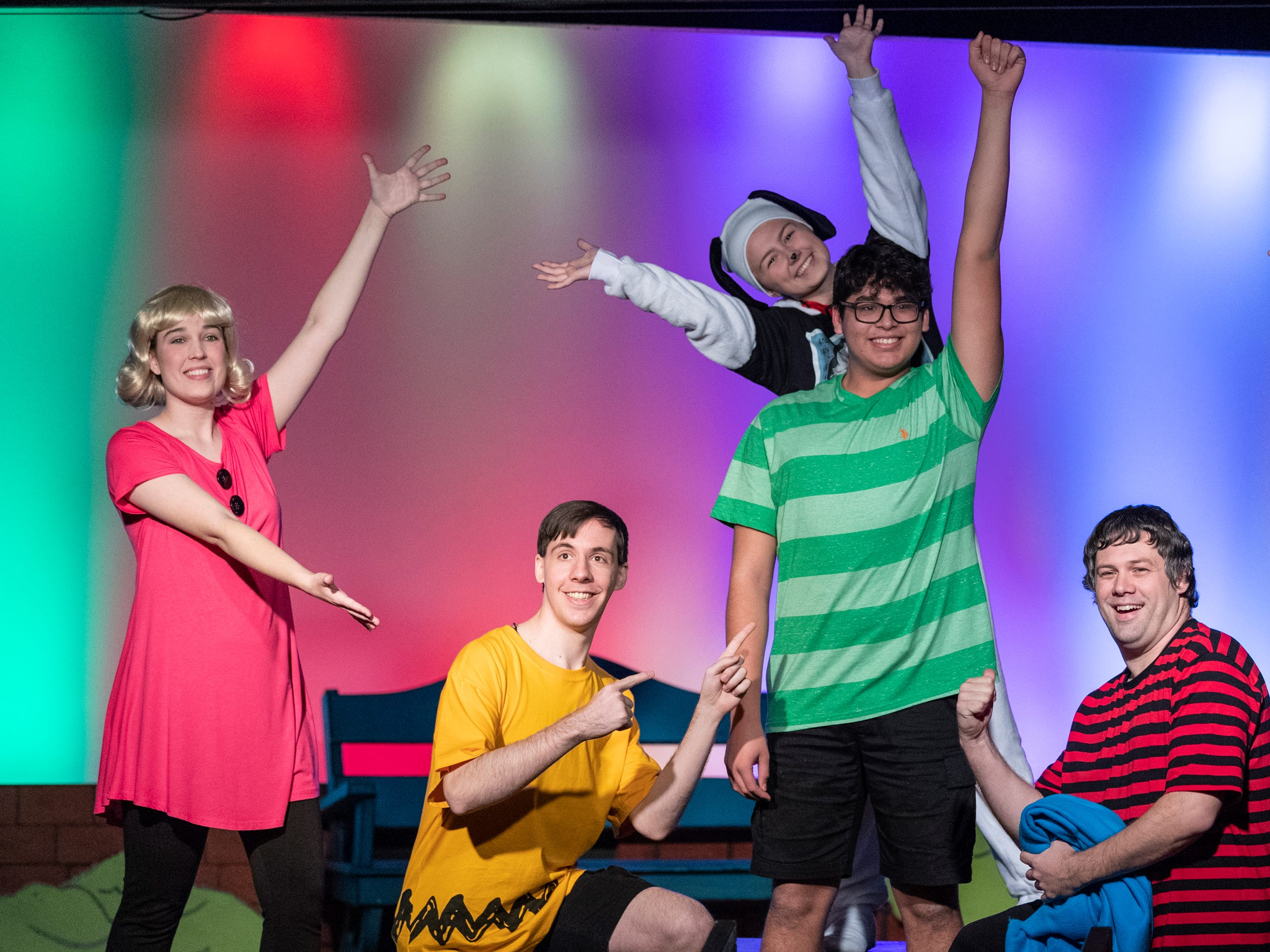 Gracie Dodson, left, Michael Newman, Jensen Lampe (Snoopy), Andrew Martin, Lauren Fonseca and Chris Pinheiro rehearse for Encore Theater's production of You're a Good Man Charlie Brown on Monday, January 28, 2019.