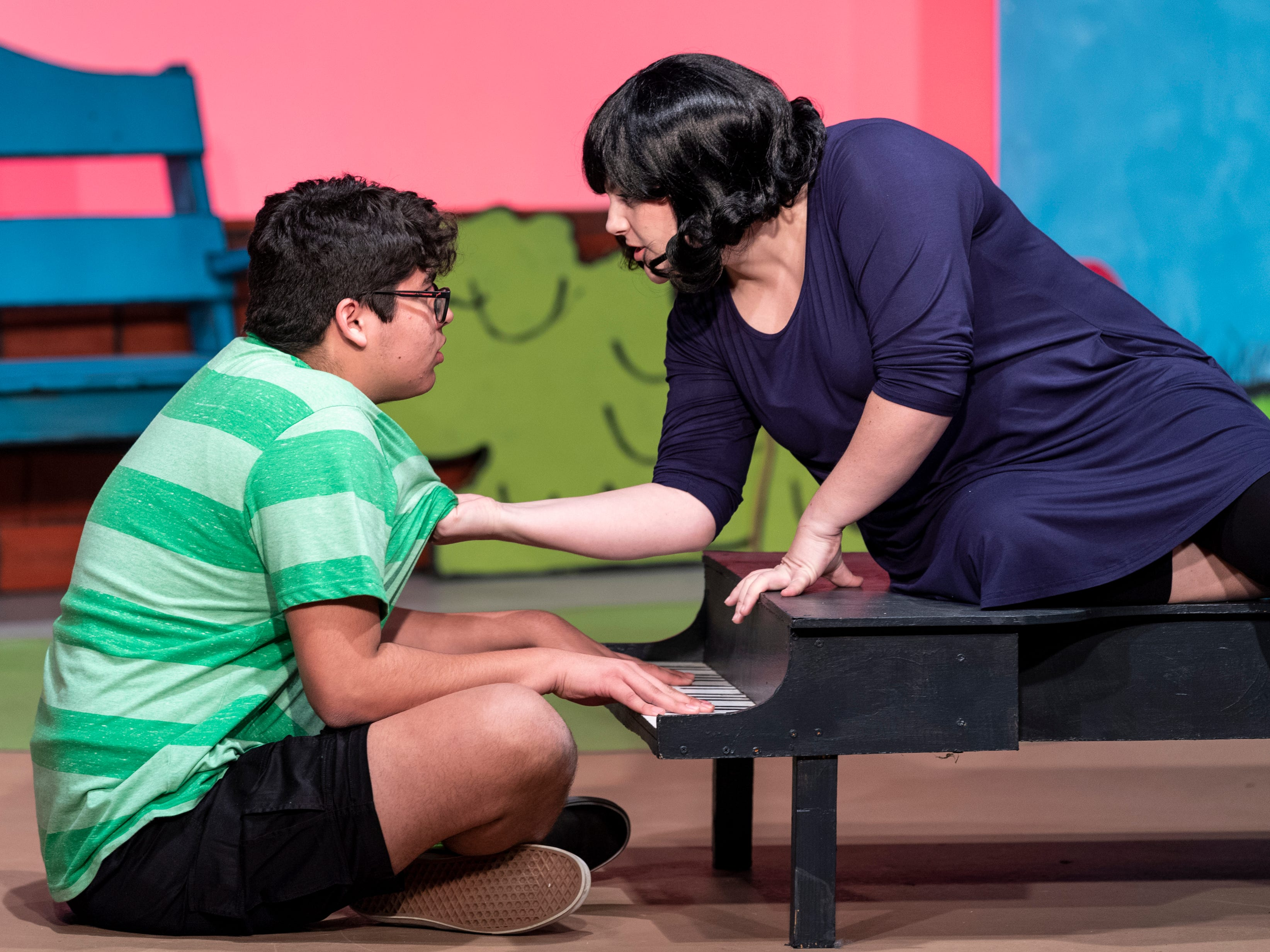 Andrew Martin, left, and Lauren Fonseca rehearse for Encore Theater's production of You're a Good Man Charlie Brown on Monday, January 28, 2019.