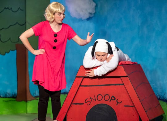 Gracie Dodson, left, and Jensen Lampe rehearse for Encore Theater's production of You're a Good Man Charlie Brown on Monday, January 28, 2019.