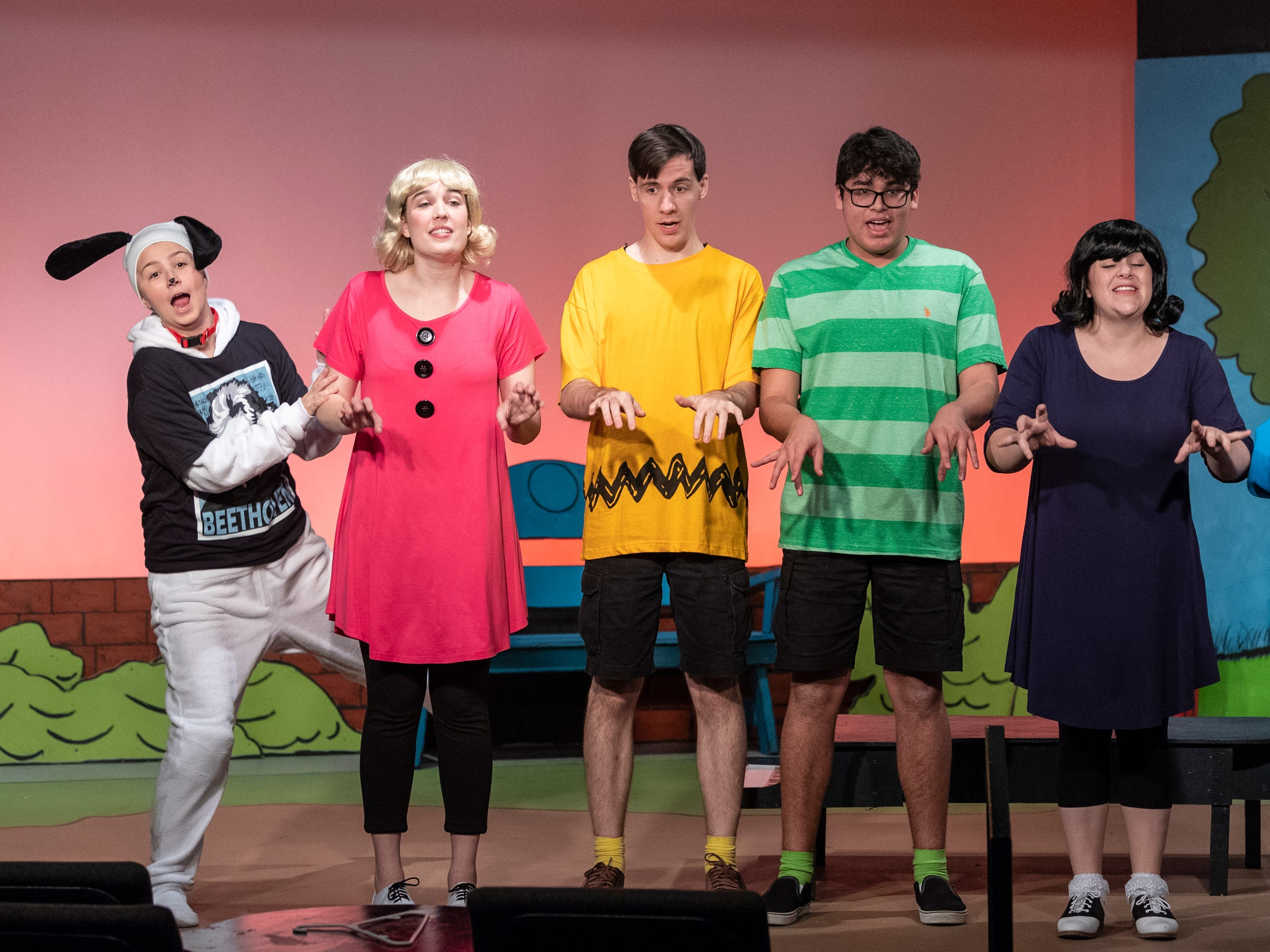 Jensen Lampe, left, Gracie Dodson, Michael Newman, Andrew Martin, Lauren Fonseca and Chris Pinheiro rehearse for Encore Theater's production of You're a Good Man Charlie Brown on Monday, January 28, 2019.