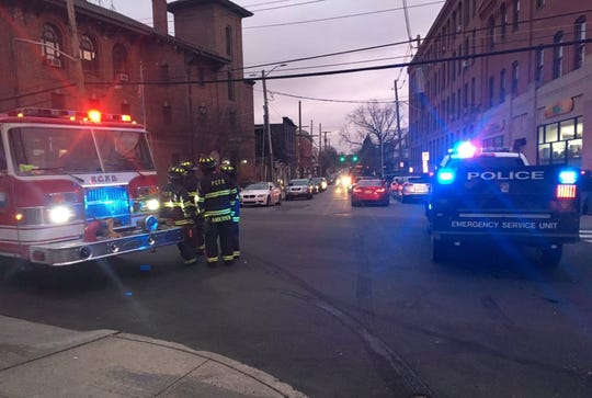 Smith Street on Port Chester is closed between Westchester Avenue and William Street as firefighters battle a house fire on Smith Street, Tuesday, Jan. 29, 2019.
