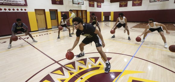 St. Thomas Aquinas basketball which is ranked No. 12 in the nation practices in the gym in Orangeburg on Jan. 29, 2019.