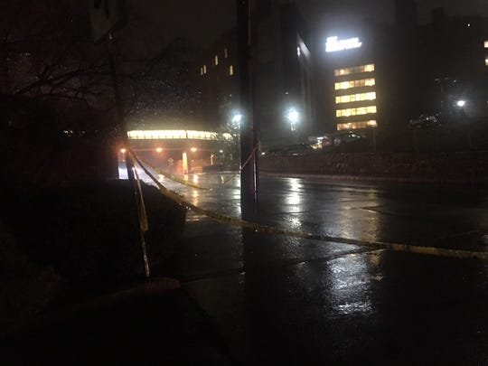 Vark Street, outside St. Joseph's Medical Center in Yonkers, is closed off Tuesday night following a shooting in which a 17-year-old city boy was killed and another person injured.