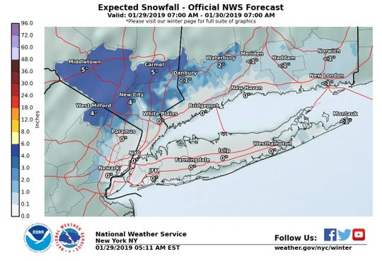 Snow is expected to fall in the Lower Hudson Valley on Tuesday.