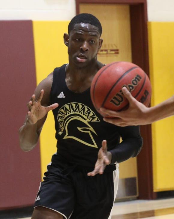 St. Thomas Aquinas' Demetre Roberts formerly of Mount Vernon HS, has been a key player in STAC's success practices with his teammates at St. Thomas Aquinas in Orangeburg on Jan. 29, 2019.
