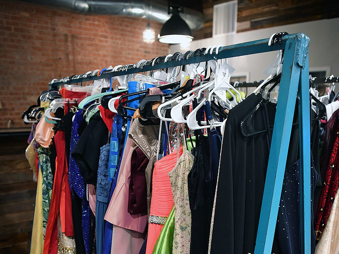 Formal gowns and prom dresses donated for the Night To Shine event at OneLife Community Church.