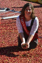 Alice in Dairyland Kaitlyn Riley slips on a pair of hip waders and climbs into Wetherby Cranberry Company's bog.