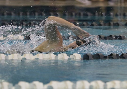 Tri-Valley's Larissa Lynch swims the 100 yard freestyle during the Muskingum County Meet earlier this season. She was voted the TR Female Athlete of the Week.