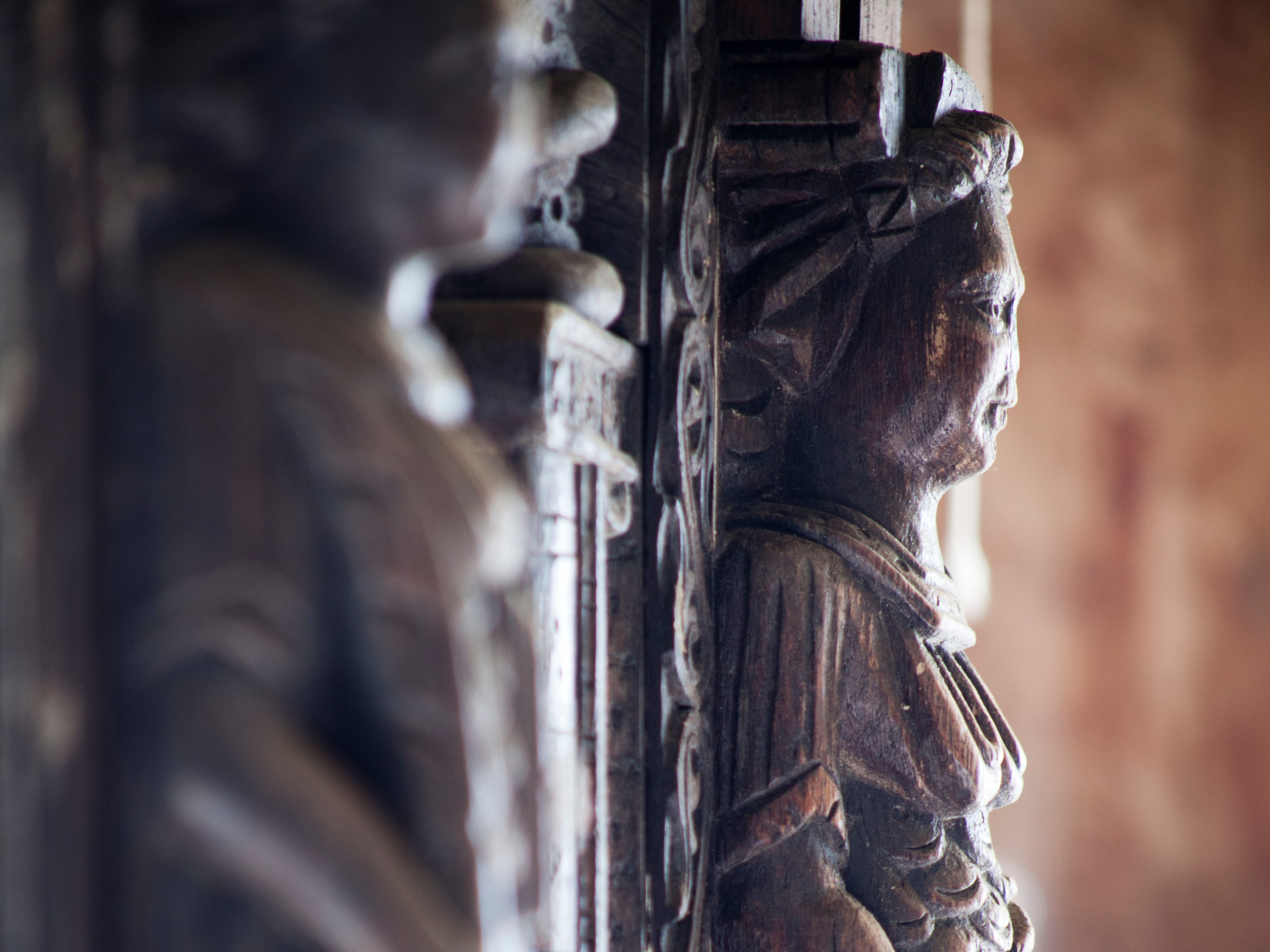One of the many Jacobean-era wooden carvings that still remain in Hopwood Hall. The esatate has been recognized for its unique collection of unusual woodwork, including carvings of lions' heads that are so old they were carved before most people in England had ever seen a lion.