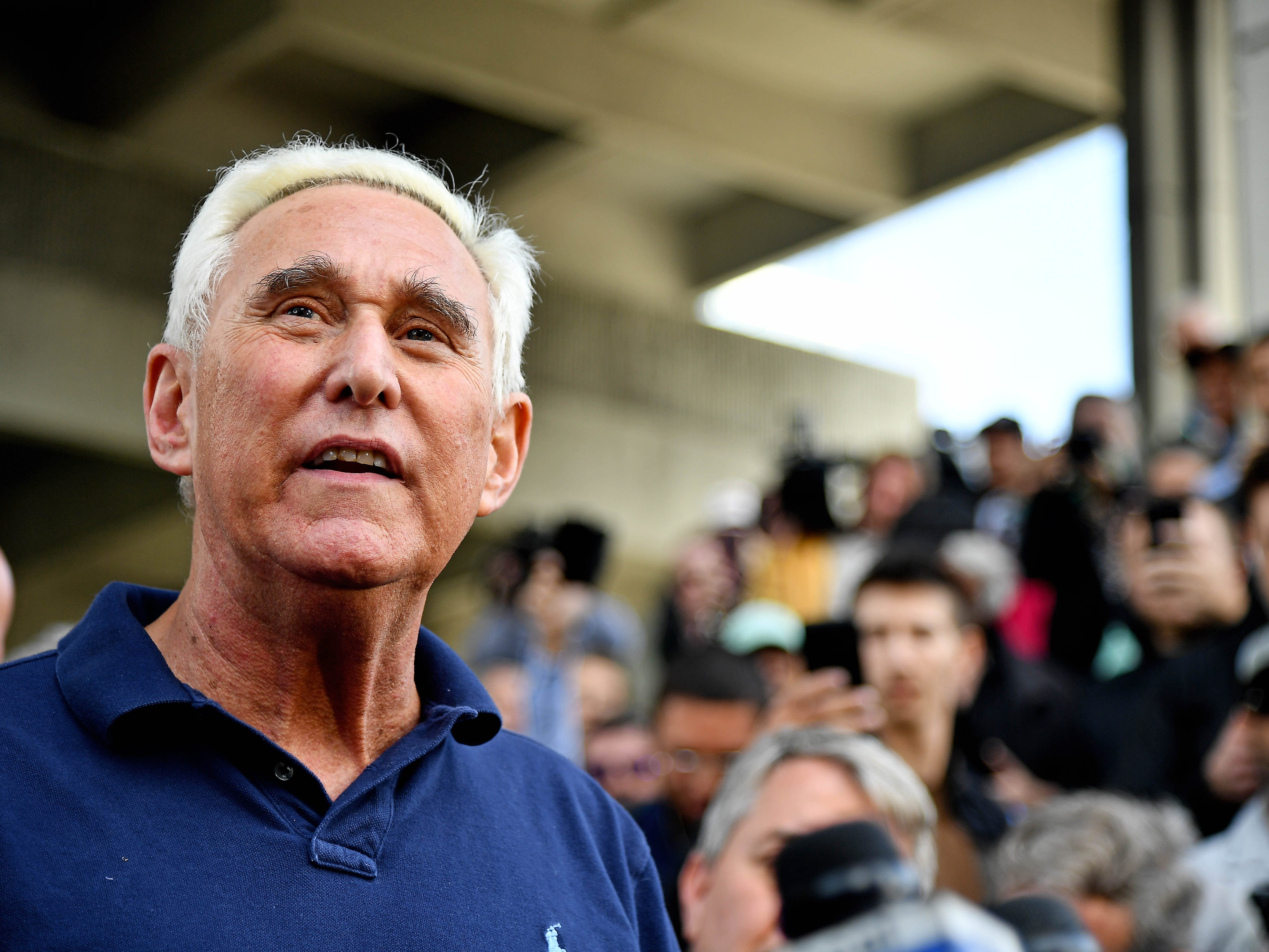 Jan 25, 2019; Fort Lauderdale, FL, USA; American political consultant Roger Stone speaks to the media after being arraigned on federal charges at U.S District Courthouse. Mandatory Credit: Jasen Vinlove-USA TODAY Sports ORG XMIT: USATSI-400975 ORIG FILE ID:  20190125_jfv_bv1_027.jpg