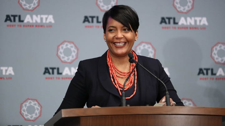 Atlanta mayor Keisha Lance Bottoms speaks during the Atlanta Super Bowl Host Committee Press Conference at Media Press Conference Room.