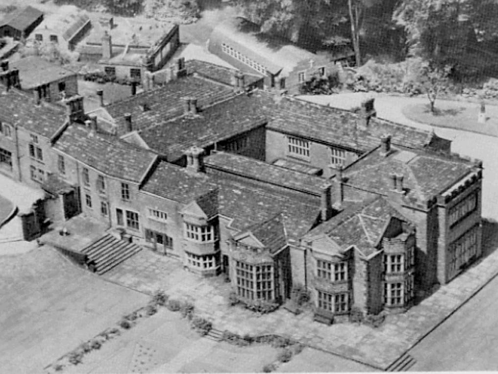 An aerial view of Hopwood Hall from 1924.
