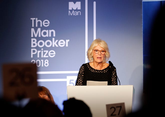 Britain's Camilla, the Duchess of Cornwall addresses the guests during the Man Booker Prize for Fiction 2018, the prize's 50th year, at the Guildhall in London on Oct. 16, 2018.