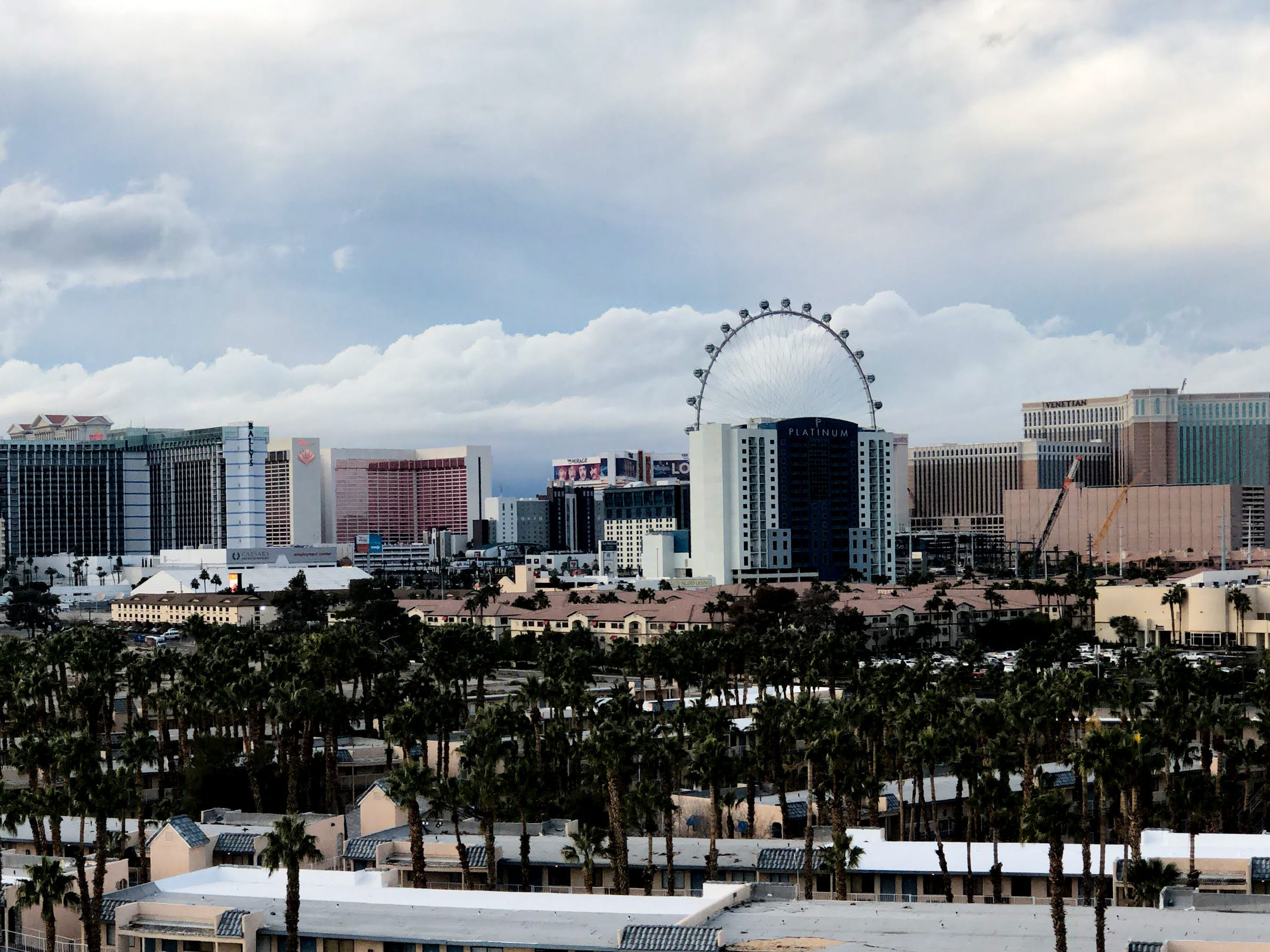 A panorama shot of the Las Vegas Strip taken with an iPhone XS Max from the roof of the Hard Rock Hotel parking garage.
