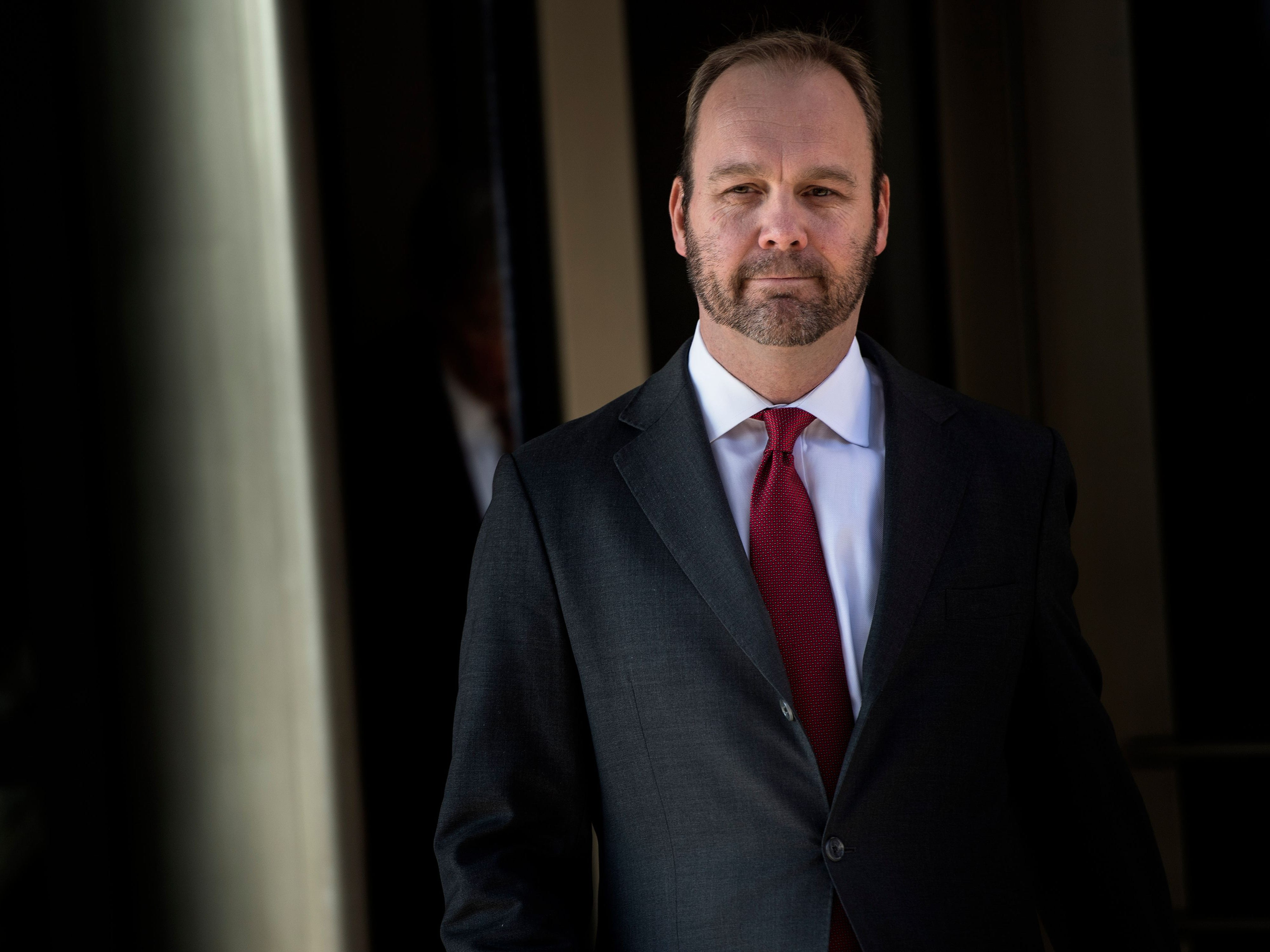 (FILES) In this file photo taken on December 11, 2017 former Trump campaign official Rick Gates leaves Federal Court in Washington, DC. Gates testified on August 6, 2018 on day 5 of the trial against former Trump campaign manager Paul Manafort. Manafort, 69, is the first defendant to go to court to fight charges stemming from Special Counsel Robert Mueller's investigation into Russian interference in the 2016 election. / AFP PHOTO / Brendan SmialowskiBRENDAN SMIALOWSKI/AFP/Getty Images ORIG FILE ID: AFP_1865G7