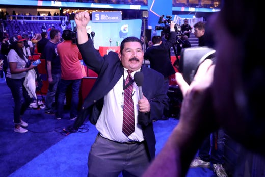 Guillermo Rodriguez from Jimmy Kimmel Live! speaks on camera  during Super Bowl LIII Opening Night at State Farm Arena on January 28, 2019 in Atlanta, Georgia.