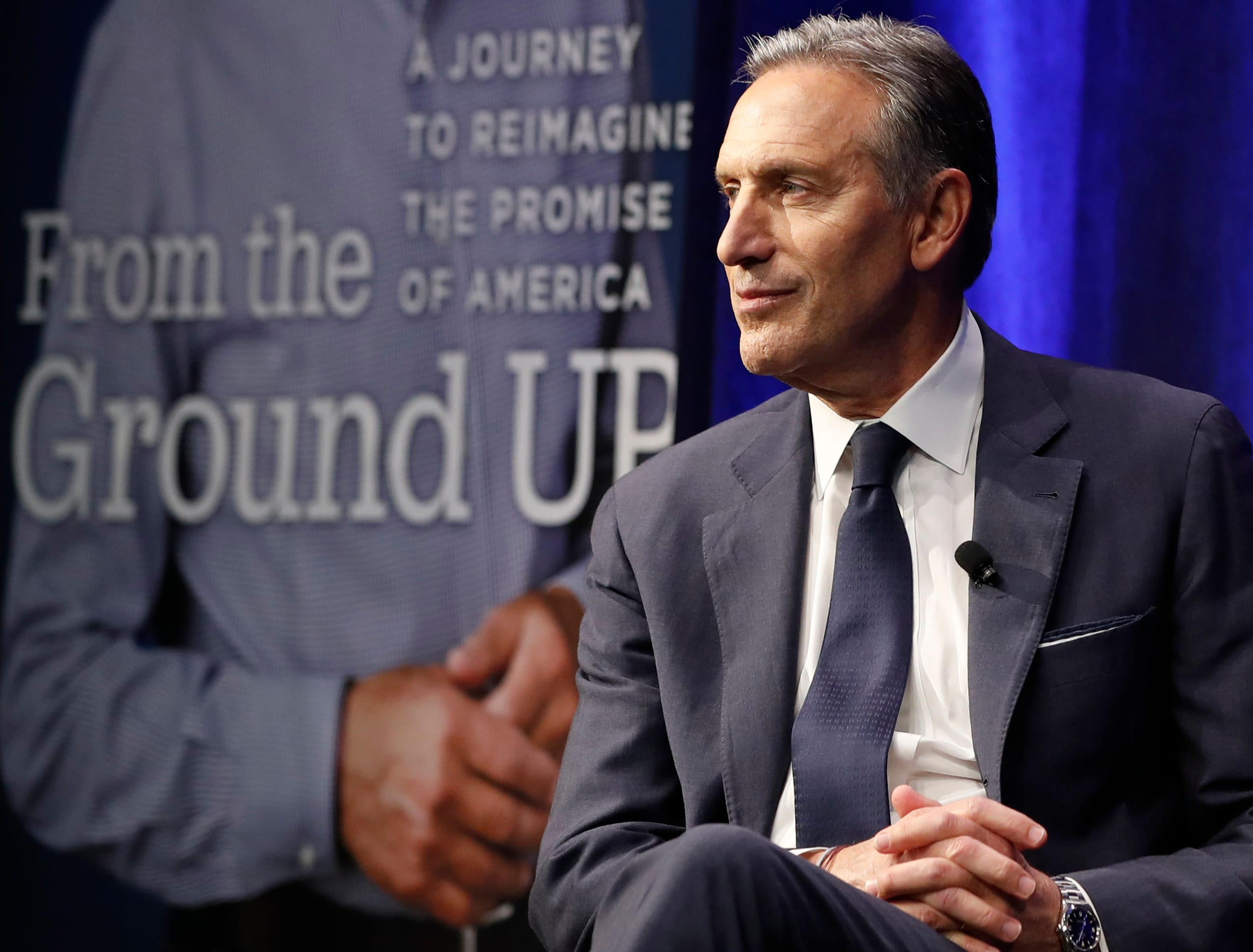 Former Starbucks CEO and Chairman Howard Schultz looks out at the audience during the kickoff event of his book promotion tour, Jan. 28, 2019, in New York.