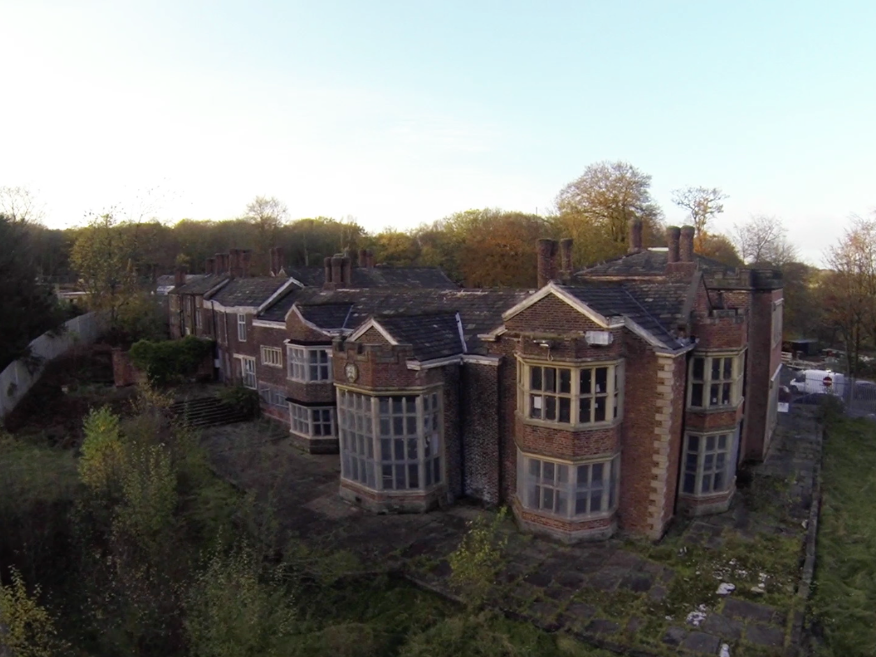An aerial view of Hopwood Hall today.