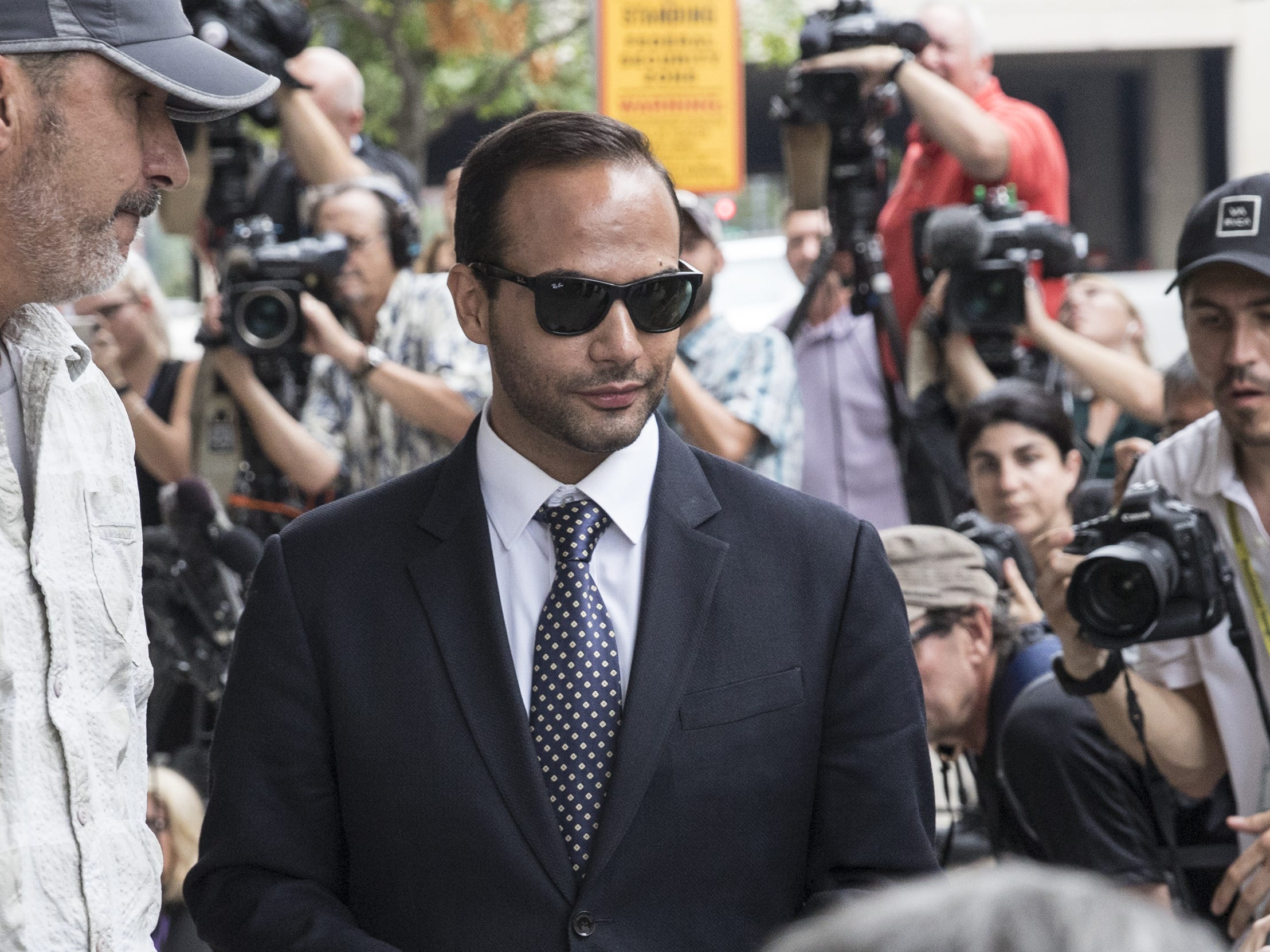 """WASHINGTON, DC - SEPTEMBER 07: Former Trump Campaign aide George Papadopoulos leaves the U.S. District Court after his sentencing hearing on September 7, 2018 in Washington, DC. Papadopoulos pleaded guilty last year for making a """"materially false, fictitious and fraudulent statement"""" to investigators during FBI's probe of Russian interference during the 2016 presidential election.   (Photo by Alex Wroblewski/Getty Images) ***BESTPIX*** ORG XMIT: 775185310 ORIG FILE ID: 1028761488"""