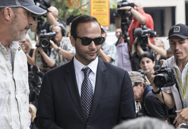 "WASHINGTON, DC - SEPTEMBER 07: Former Trump Campaign aide George Papadopoulos leaves the U.S. District Court after his sentencing hearing on September 7, 2018 in Washington, DC. Papadopoulos pleaded guilty last year for making a ""materially false, fictitious and fraudulent statement"" to investigators during FBI's probe of Russian interference during the 2016 presidential election.   (Photo by Alex Wroblewski/Getty Images) ***BESTPIX*** ORG XMIT: 775185310 ORIG FILE ID: 1028761488"